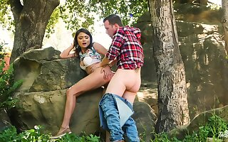 Adria Rae and her darling teeny-bopper to the woods for a wonderful bang