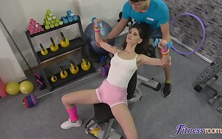 Fit unshaded Lana Seymour gets fucked balls deep by a personal trainer