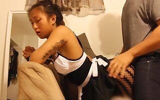 Exxxtra Small Asian Maid Cleans A Fat Penis - Handjob