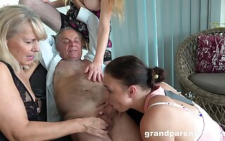 Old man takes his wimp added to fucks the slutty matured in ridiculous action