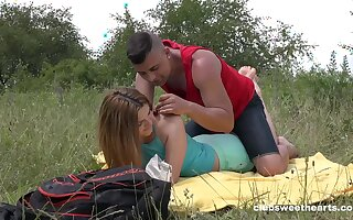 Deep probingly outdoor romance of this fresh 18 teen