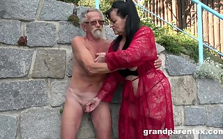 Young girl joins a much-older hazardous lady for a public fourway have sex
