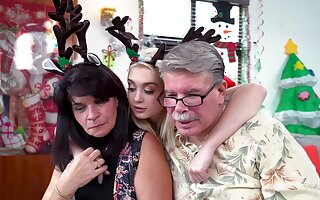 Santa gags this mature with an increment of fucks her pussy merciless