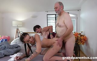 Mature couple spices just about their sex life with a vivacious cutie