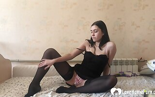 Formidable out new black stockings while fapping