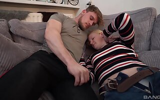 Horny man fucks his amateur blonde girlfriend Eva on the sofa
