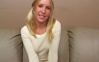 Adorable blonde pigtails on teen that loves big cock sex