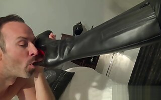 Sexy girl Leather clothes Boots fuck
