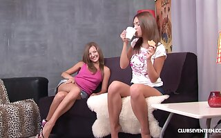 Slender and gentle lesbian teen couple Alice R and Inna