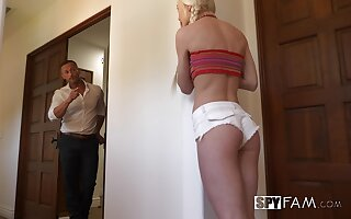 Blonde perky teen with pigtails Morgan Rain pounded hardcore