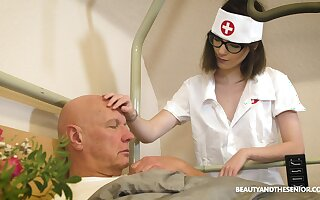 Slutty nerdy teen nurse Sara Bell rides her patient's old dick