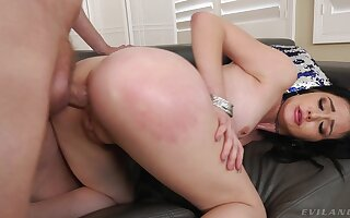 Elegant brunette sits on top and rides the big dong with her ass