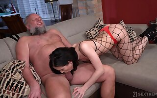 Bearded pervert is happy to lick pussy of gal in fishnet tights Nikki Fox