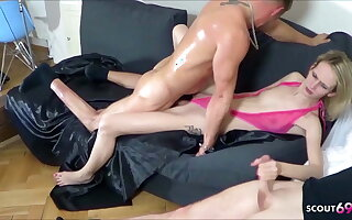Two Guys Tricked Skinny German Teen Jenny come into possession of Rough Threesome