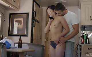Lovely Petra Blair gets to enjoy touching sex all round a hunk