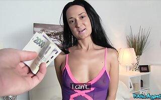 Divine young lady agrees to bollocks hard for some cold, hard cash