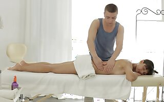 Hot Haley receives a palpate coupled with much in the air personalized service