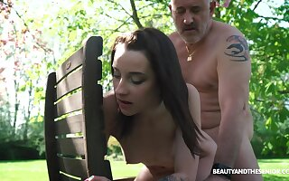 Nympho Charlotte Johnson is spying in the first place revealed old neighbor in the garden