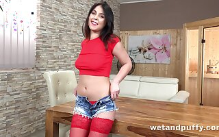 Think of catching gorgeous brunette babe Teana desires to tease the brush wet pussy