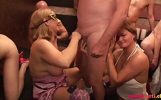 Swinger sex party with reference to horny Wife Ingrid coupled with slut