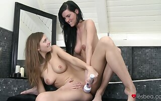 Desirable Eufrat Mai takes a shower added to gets licked by her friend