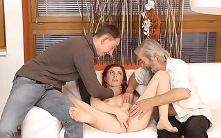 Outright mom with an increment of boss's lady eat pussy Sheer