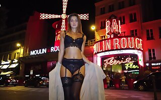 Hypnotizing Russian beauty Maria Rya is walking around the metropolis in sexy lingerie and stockings