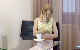 Coquette Emily Cutie is fingering shaved pussy which is superabundant lady hard stuff