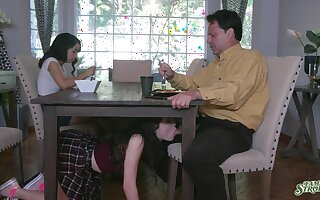 Jackie Rogen is watching elder sister sucking stepdad's cock under the table